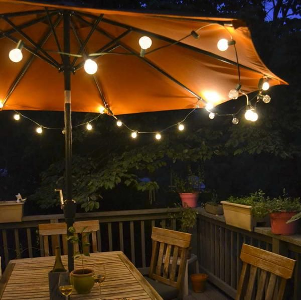 Great #DIY #Patio Umbrella #lights