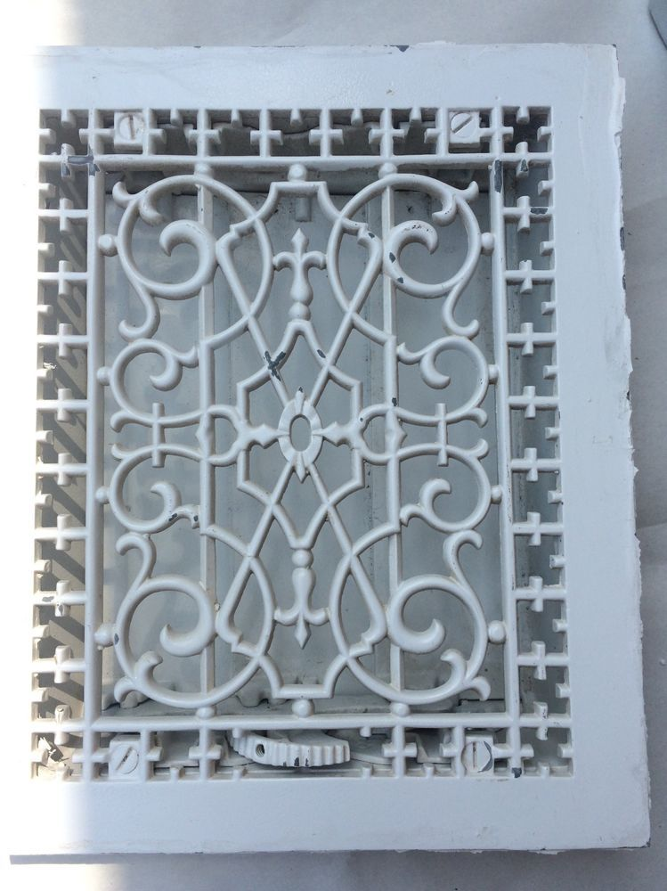 Details about Antique VICTORIAN Cast Iron Floor Grille 12x10
