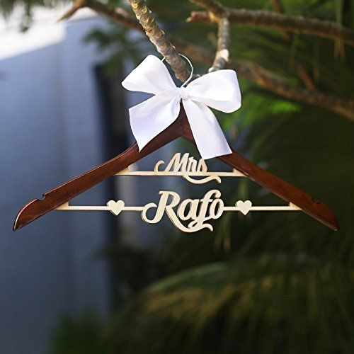 Personalized Wedding Hanger With Name Mrs Dress Wood Bridal Last