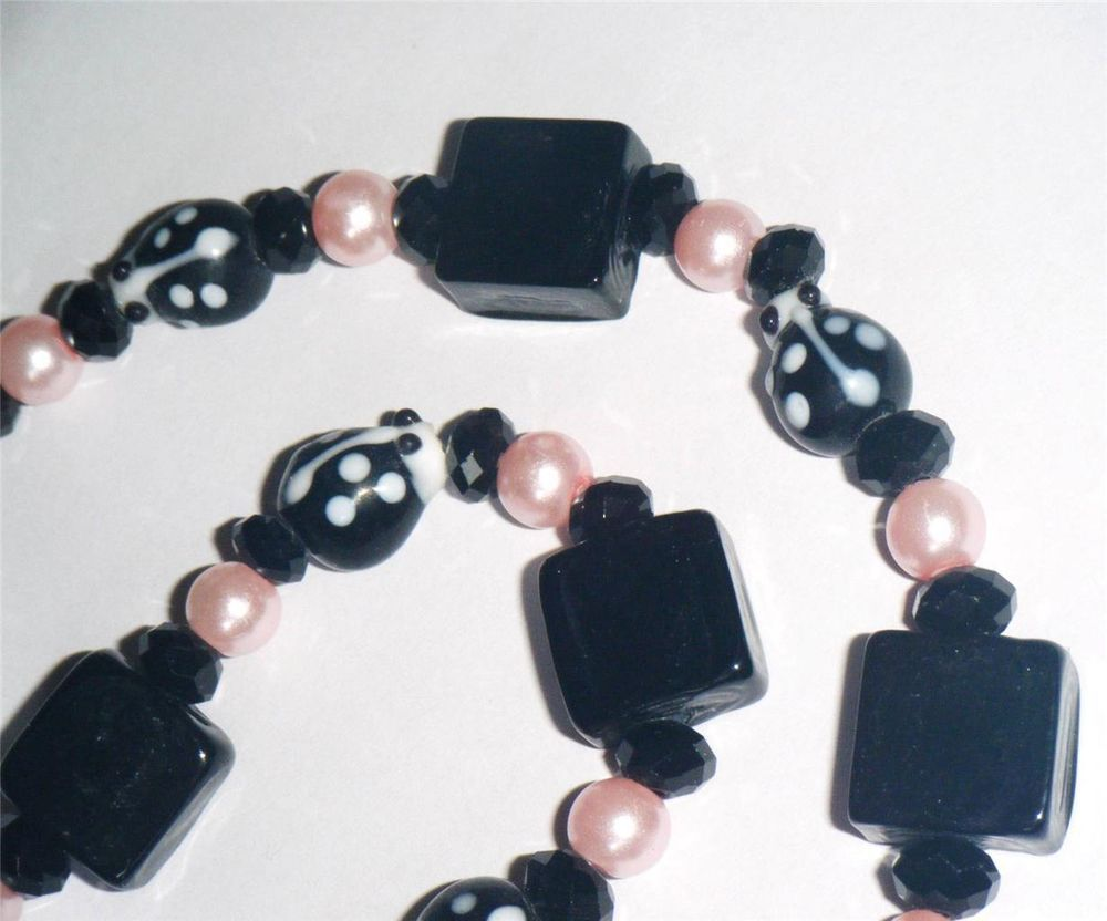 """Black & pink bead necklace, ladybirds, squares & round glass beads 18.3/4"""" long"""