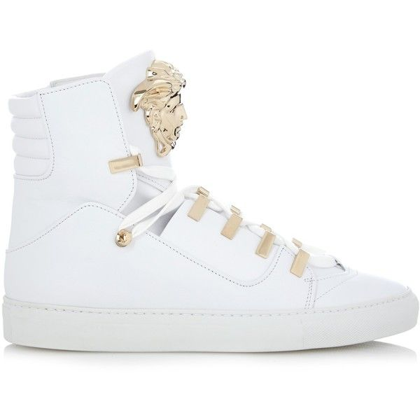Versace Medusa high-top leather trainers (11.570 ARS) ❤ liked on Polyvore featuring shoes, sneakers, white, versace high tops, leather sneakers, leather shoes, versace sneakers and versace shoes