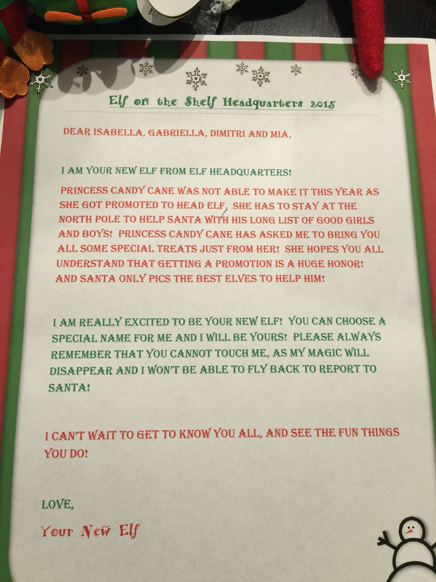 Letter From A Replacement Elf On The Shelf Elf On Shelf Letter