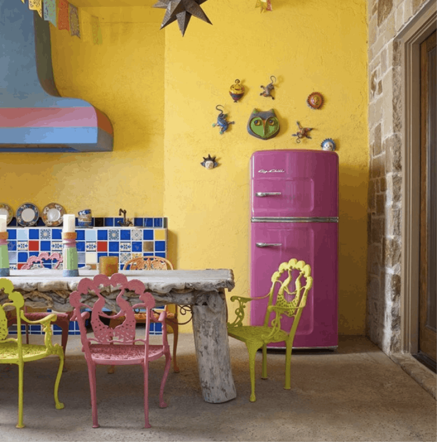 Big Chill Bright Colors 7 Refrigerators In Eye Popping Hues Mexican Interior Design Kitchen Design Color Pink Refrigerator