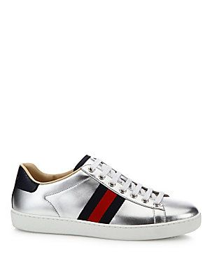 69bf7a7c1a71 Gucci - New Ace Metallic Leather Low-Top Sneakers