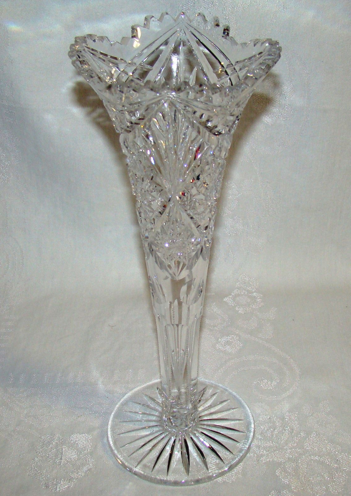 Abp american brilliant period cut crystal trumpet vase maple city glass reviewsmspy