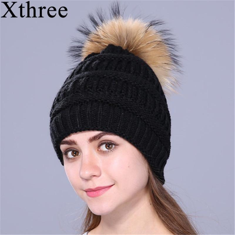 6d31405c4c6be Xthree Real Fox Fur Pom Poms Ball Keep Warm Winter Hat For Women Girl –  FuzWeb