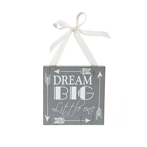 "Buttons & Bows Dream Big Little One Arrow Print Wooden Door Hanger - Gray - Buttons & Bows  - Babies""R""Us"