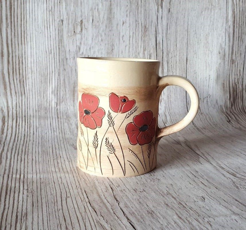 Coffee Cup Teacup Drinking Cup With Poppies 350ml Tea Cups Poppies Drinking Cup
