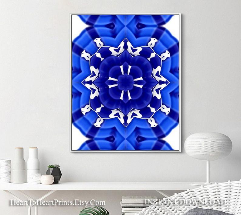 Royal Blue Wall Art Blue Abstract Printable Artwork Blue Etsy Blue Wall Art Blue Art Prints Navy Blue Wall Art