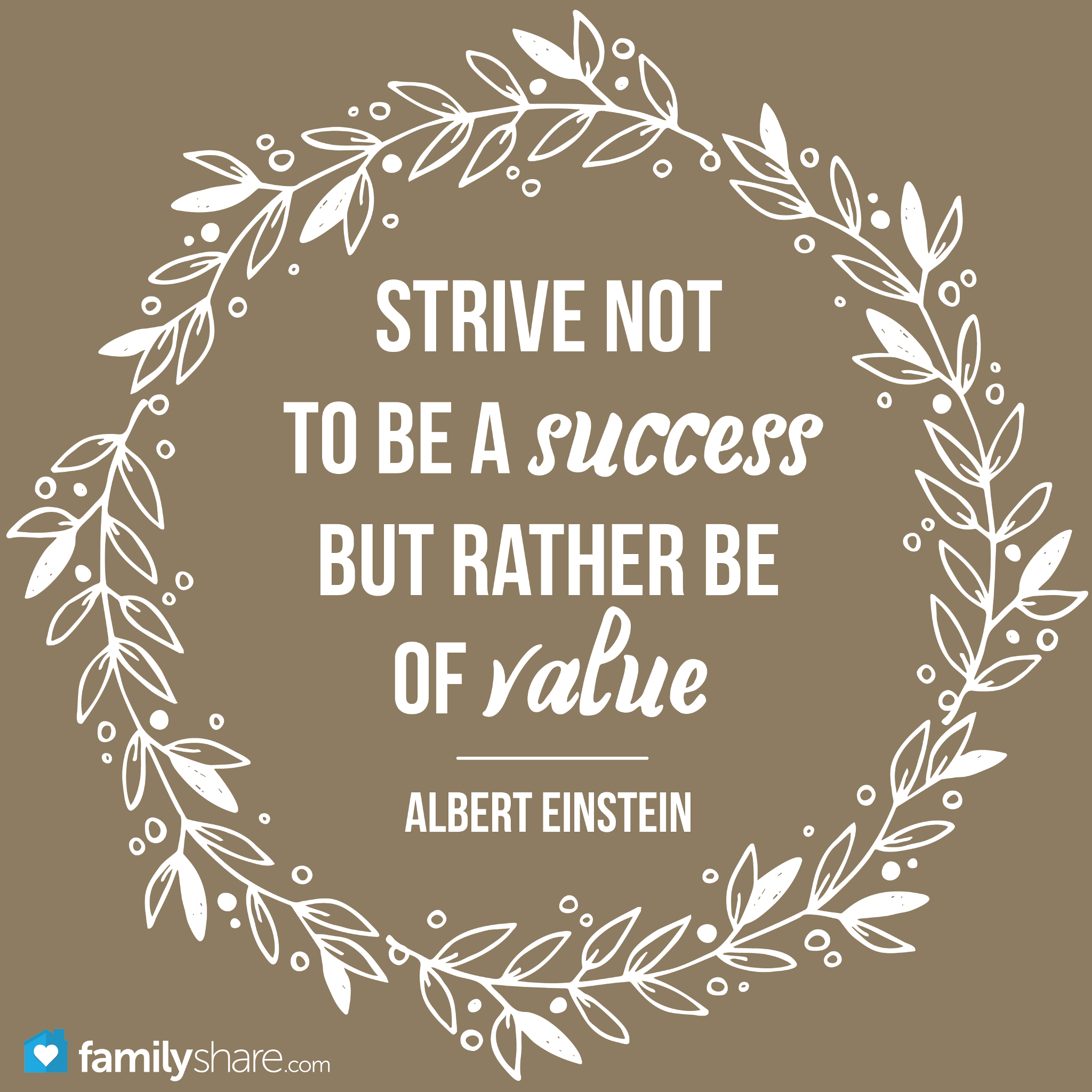 Strive Not To Be A Success But Rather Be Of Value Albert Einstein