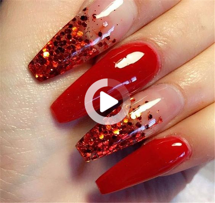 12 Nail Acrylic Red Coffin In 2020 Red Nails Glitter Red Nail Designs Coffin Nails Designs