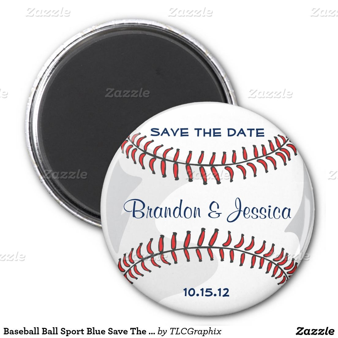 baseball ball sport blue save the date wedding magnet save the