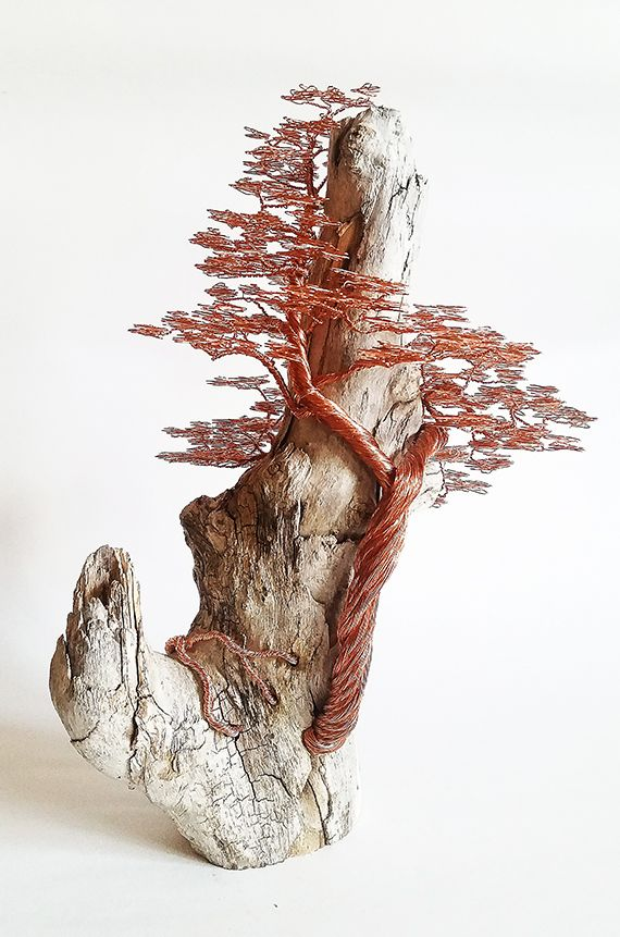 Driftwood copper wire tree sculpture by minskis wire for How to make a wire tree of life sculpture