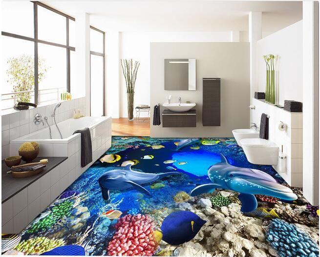 3d Material De Suelo Personalizado Personalizado Pvc 3d Piso Del Bano Underwater World Cueva De Co Suelos Decoracion De Salas Modernas Decoracion De Interiores