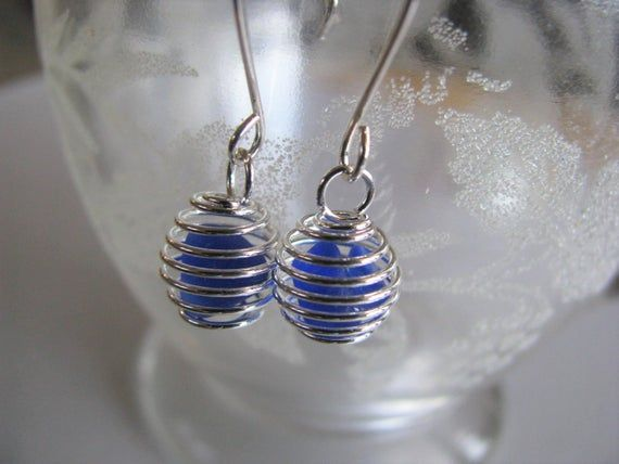Photo of Cobalt Blue Beach Glass Earrings – Tiny Caged Ball Earrings – Beach Glass Jewelry – Holiday Gifts – Mermaid Tears PEI