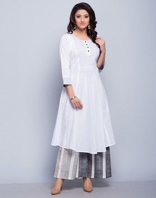 545e934de Buy Fabindia Cotton Cambric Top Stitch Detail Long Kurta Online- Fabindia .com