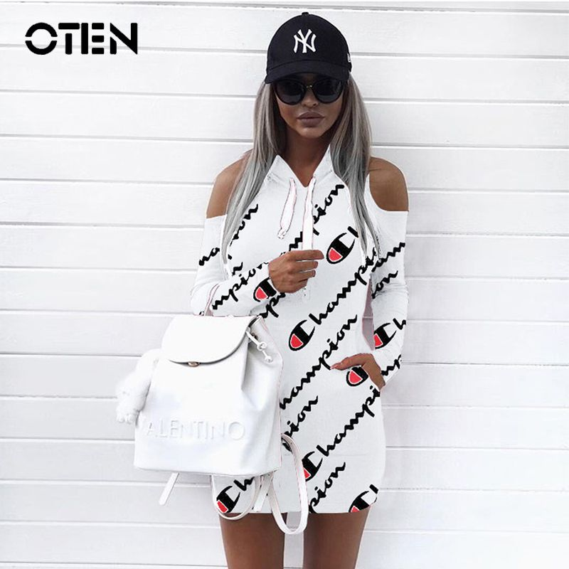 0a630df1d OTEN Women Long sleeve Off shoulder Casual champion Letter Printed ...