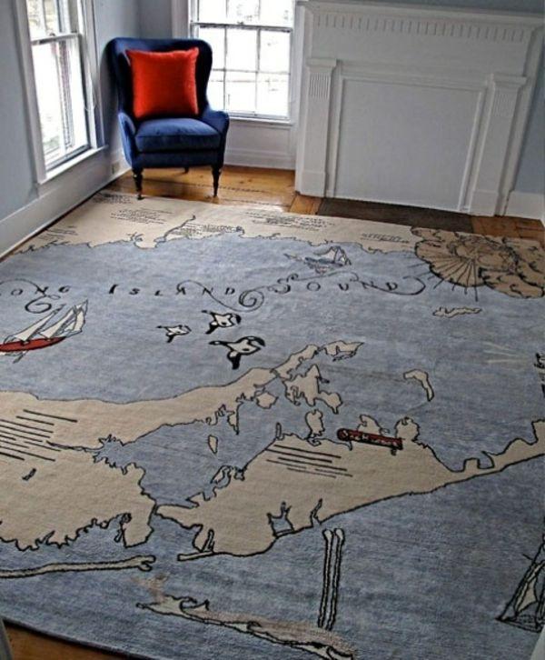 Designer Teppich Wohnzimmer Teppich Bunte Muster Weltkarte