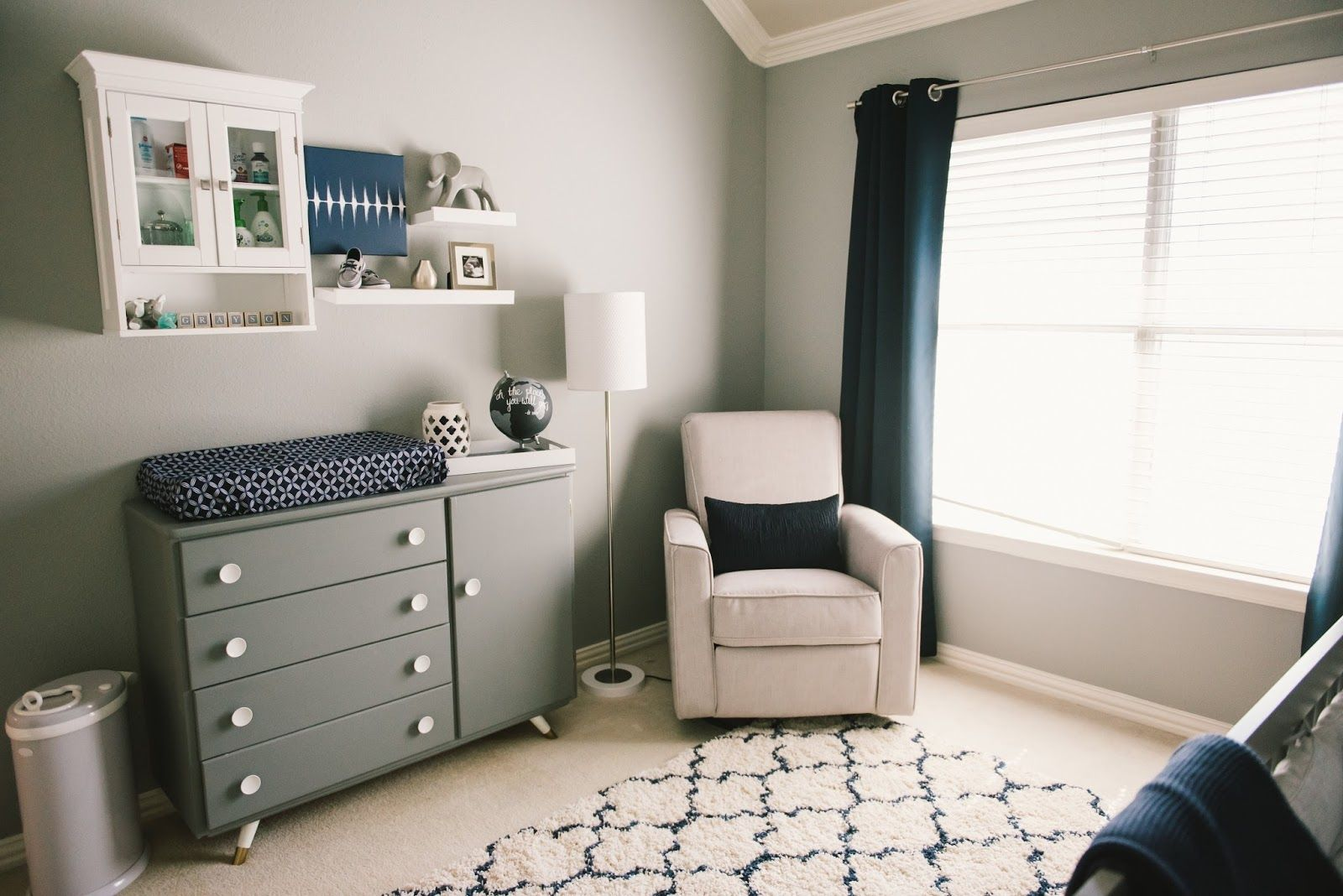 modern grey white navy baby boy nursery grayson daniel nursery tour nursery ideas. Black Bedroom Furniture Sets. Home Design Ideas