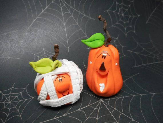 FREE SHIPPING Polymer Clay Jack o'lantern Set of by ClayBabiesInc