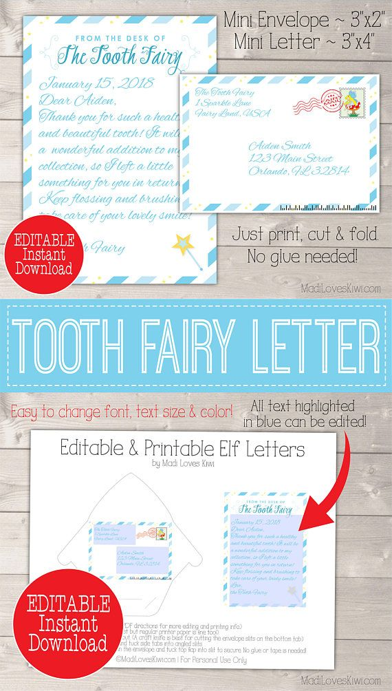 personalized tooth fairy letter kit boy printable download first lost tooth note set envelope template pdf digital gift idea no teeth cards for my kids