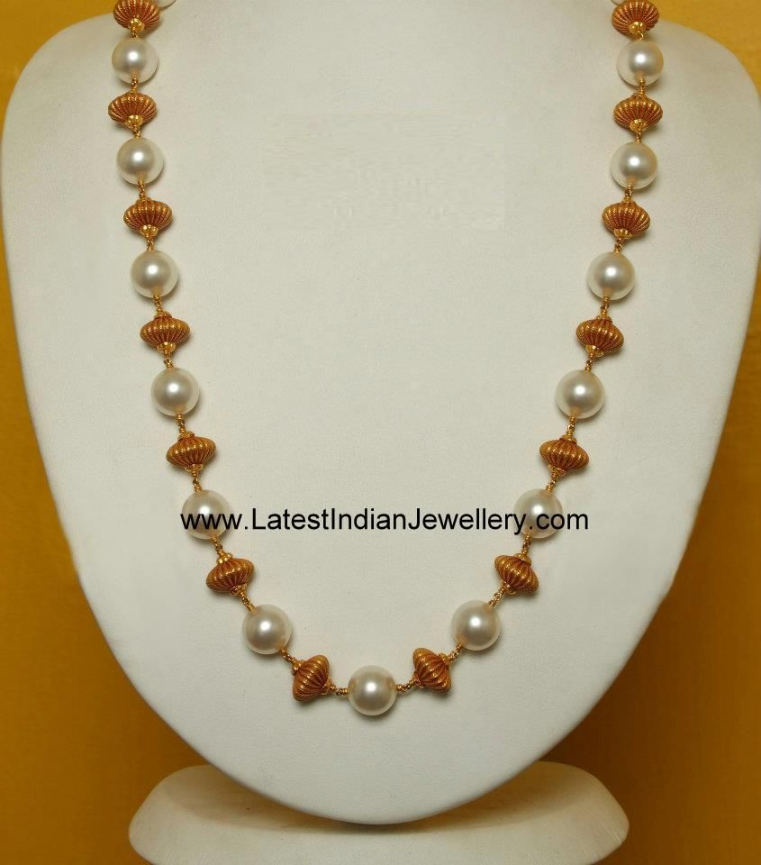 Simple pearl and gold beads long chain pinterest for Simple gold ornaments