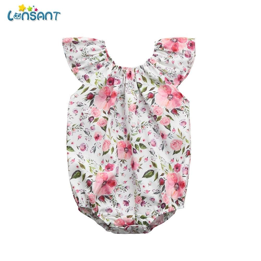 ef07ae63e7fc LONSANT 2018 New Arrival Summer Newborn Baby Girl Floral Print Romper  Playsuit Jumpsuit Outfit Sunsuit Clothes for 0 24M baby-in Clothing Sets  from Mother ...
