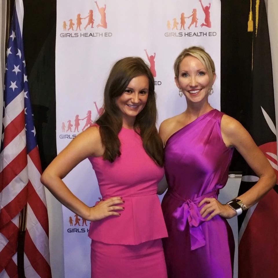 Girls Health Ed. fundraising event at the Embassy of Kenya. Pictured: Director of Sarah's Charities, Sarah MacLellan with good friend Lindsey Mask, Founder of Ladies America.