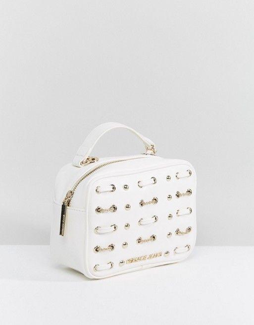 65347e731e Versace Jeans White Woven   Studded Cross Body Bag