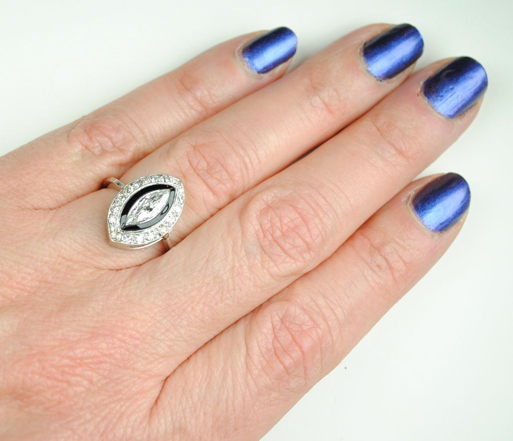 Art Deco Marquise Diamond & Black Onyx Ring