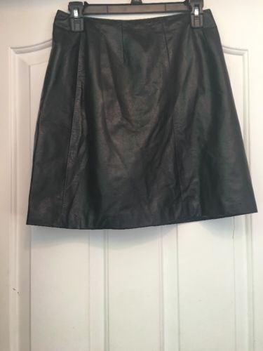 76.44$  Buy here - http://vifzf.justgood.pw/vig/item.php?t=qsvjo245368 - TWEEDS A51 100% Genuine Leather Black A-Line skirt Size 8 76.44$