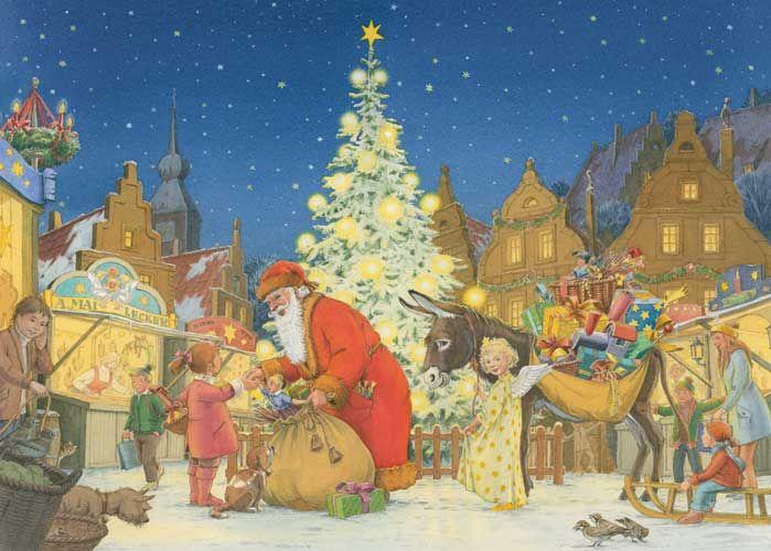 Illustration weihnachtsmarkt mit weihnachtsmann weihnachten kinderbuchillustration - Aquarell weihnachten ...