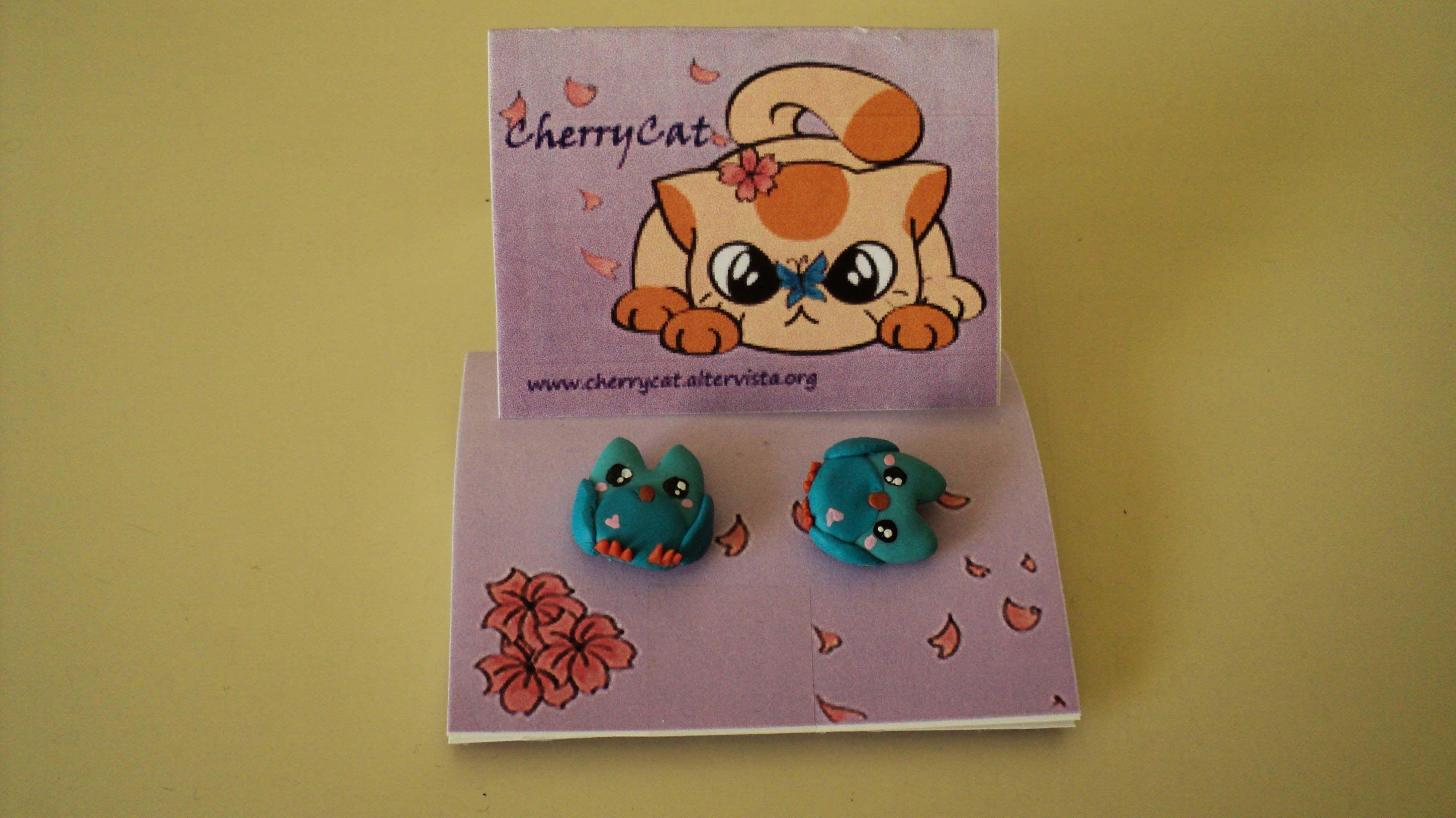 Orecchini a lobo con gufetti fatti a mano. Handmade earlobe earrings with little owls.