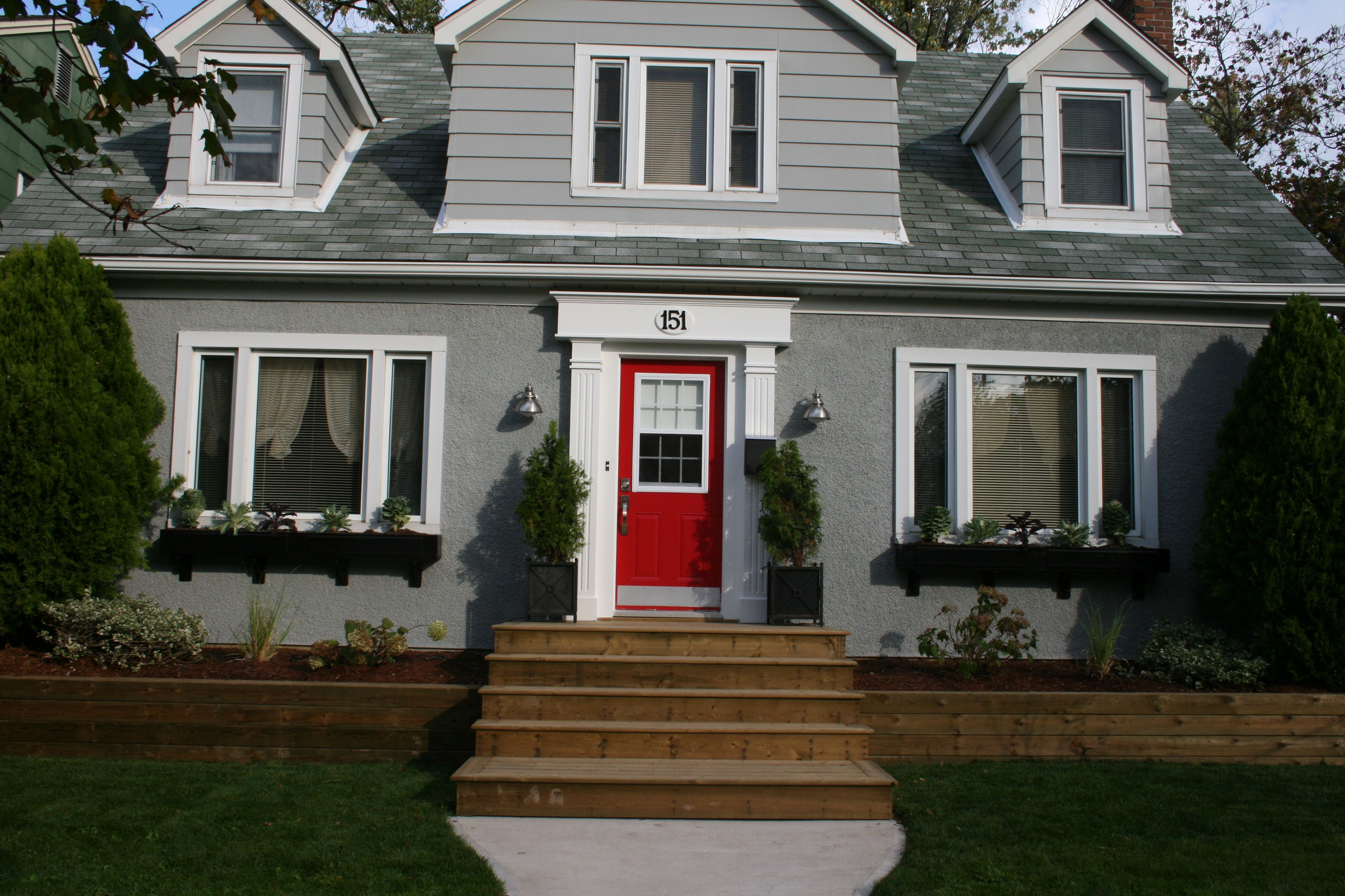 Great Color Scheme For The Renovation Sherwin Williams Sw 7066 Grey Matters Red Door Is Martha Lady Bug White Surround Benjamin Moore