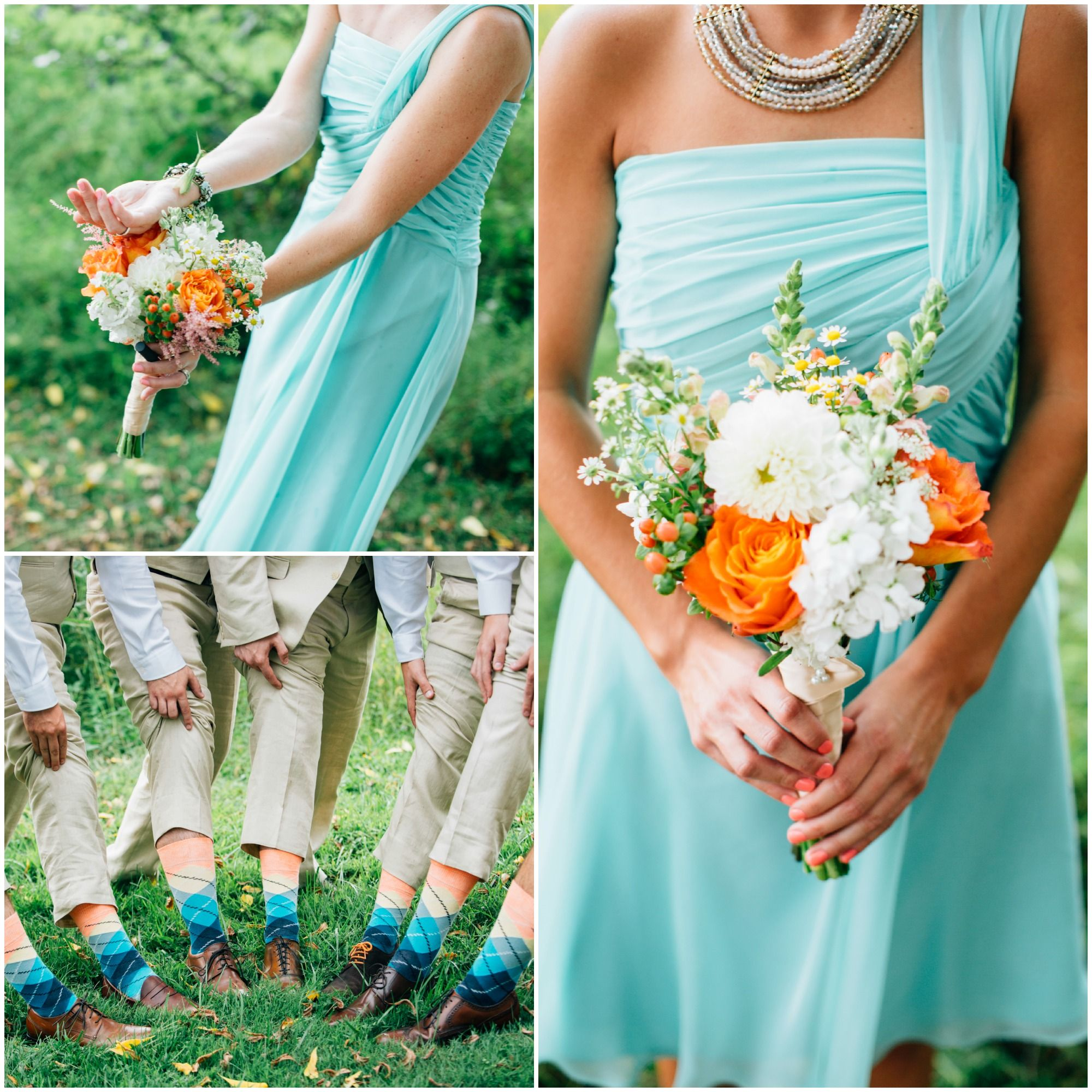 Examples of mint dresses with orange and white bouquets rachael examples of mint dresses with orange and white bouquets ombrellifo Images
