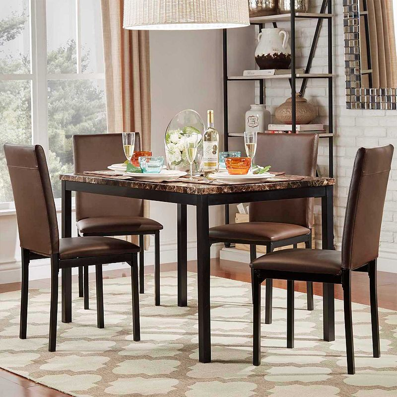 31++ Devoe 5 piece faux marble counter height dining set black Top