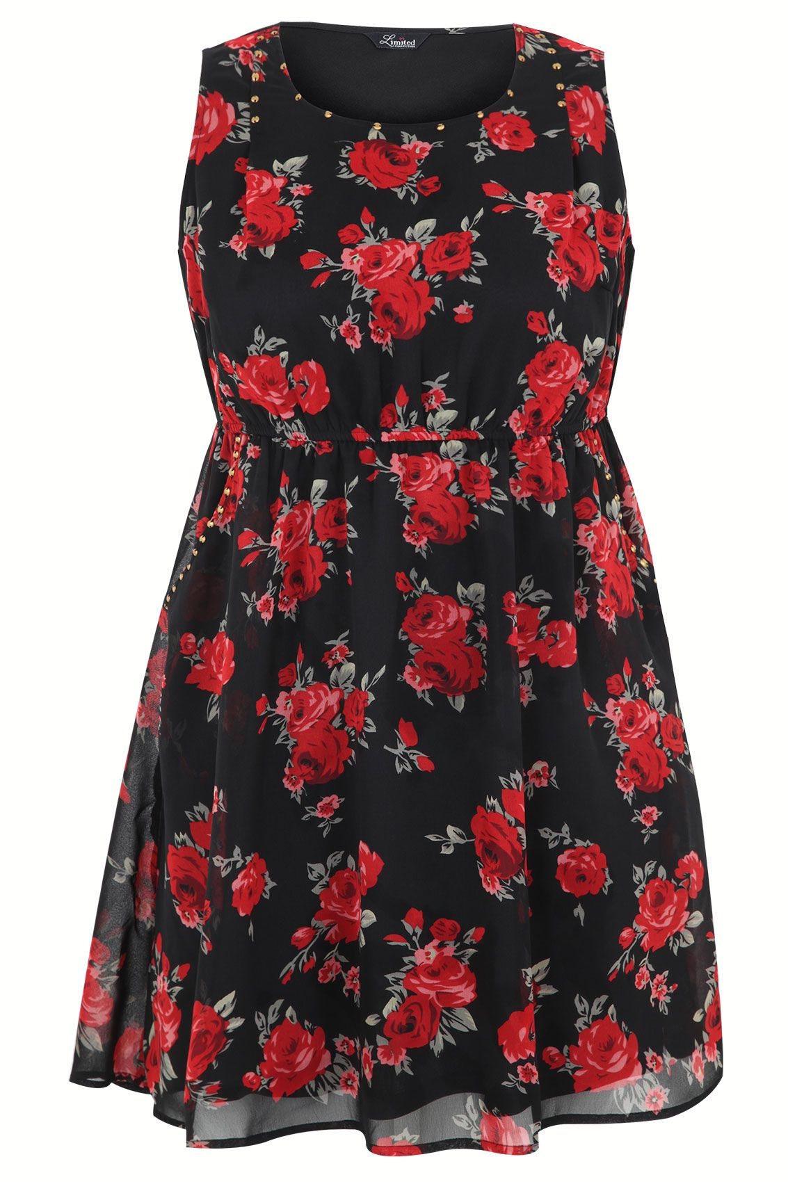 00cae3b736da1 Black And Red Rose Print Skater Dress With Stud Detail plus size 14 ...