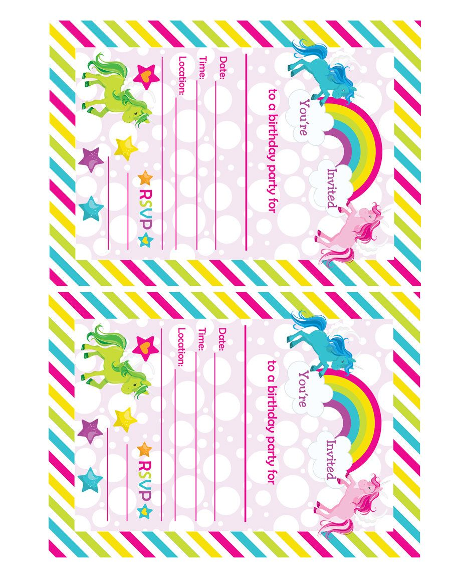 Fill In Birthday Party Invitations, Printable Rainbows and ...