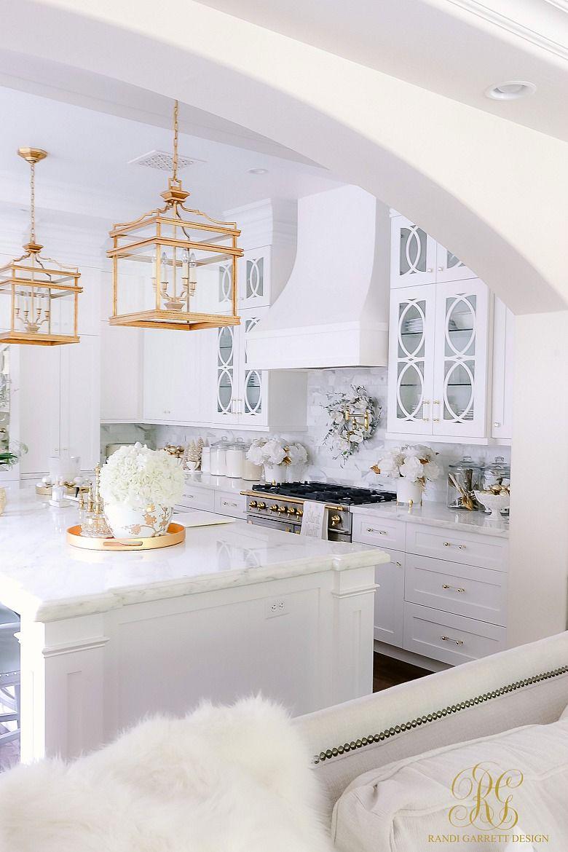 White And Gold Christmas Kitchen Christmas Kitchen White Christmas Decor Outdoor Interior Design