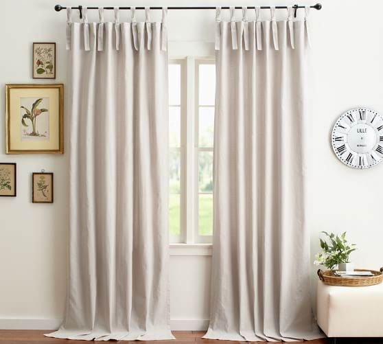 Textured Cotton Tie Top Curtain Tie Top Curtains Curtains
