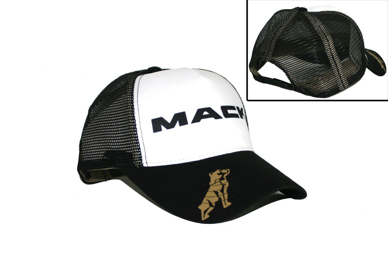 90fb3c0f16c Mack Truck Merchandise - Mack Truck Hats - Mack Trucks Black   White Mesh  Snapback Trucker Hat
