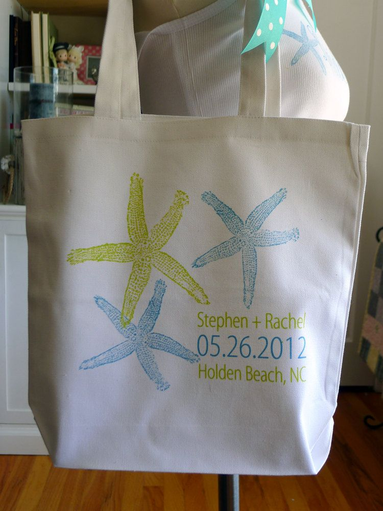 Beach wedding tote bag, Beach Tote, wedding tote, starfish ...