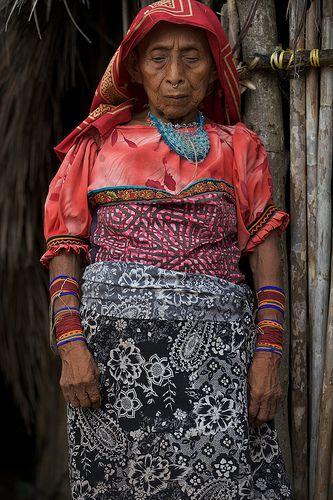 Older Woman In Pink Mola Panama Kuna