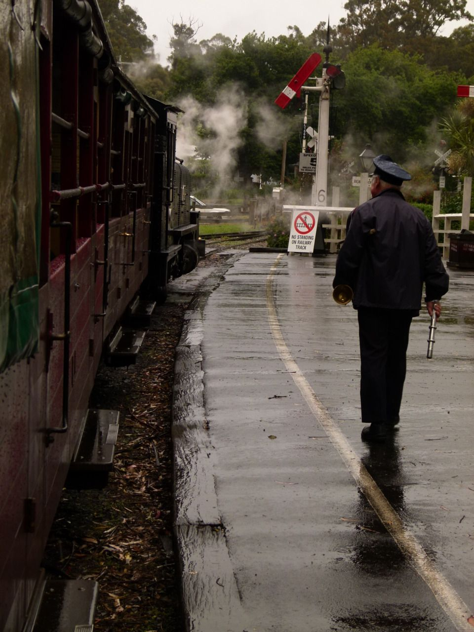 Puffing Billy leaving Menzies Creek Station…..our little