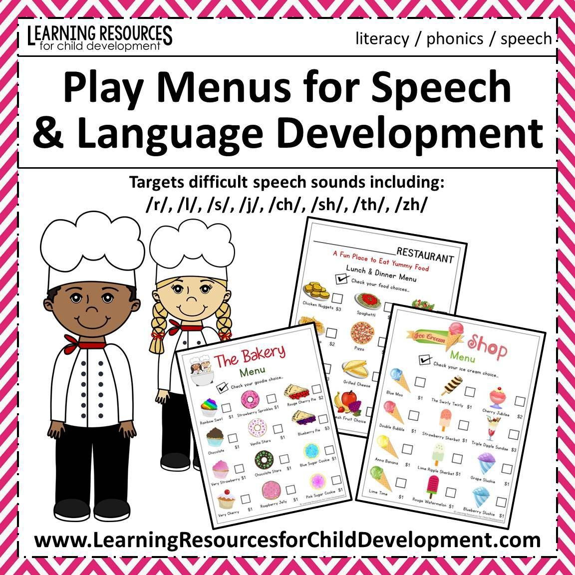 Play Menus For Speech And Language Development