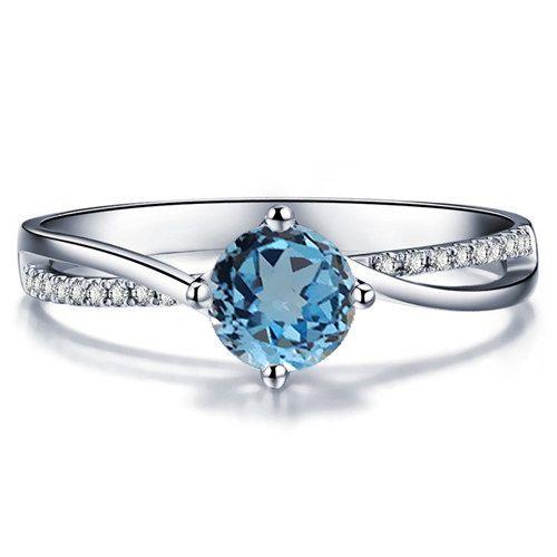 Blue Topaz Engagement Ring 14k White Gold or Yellow Gold December Birthstone Art Deco Diamond Ring