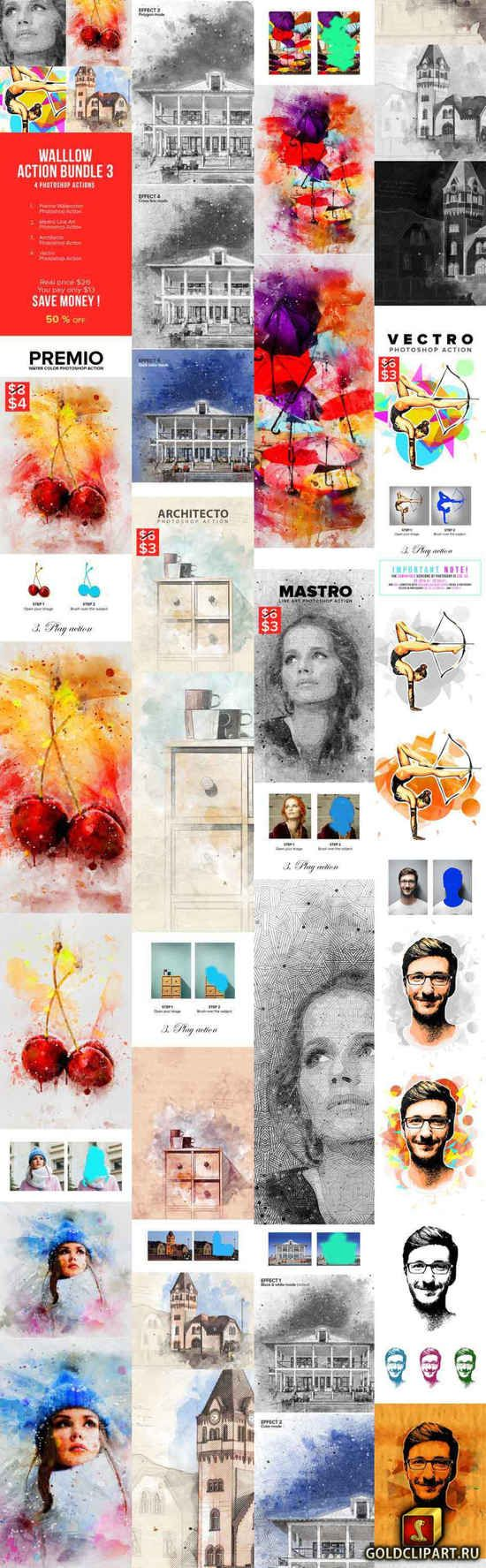 Walllow Action Bundle 3 22229083 Line Art Photoshop Watercolor