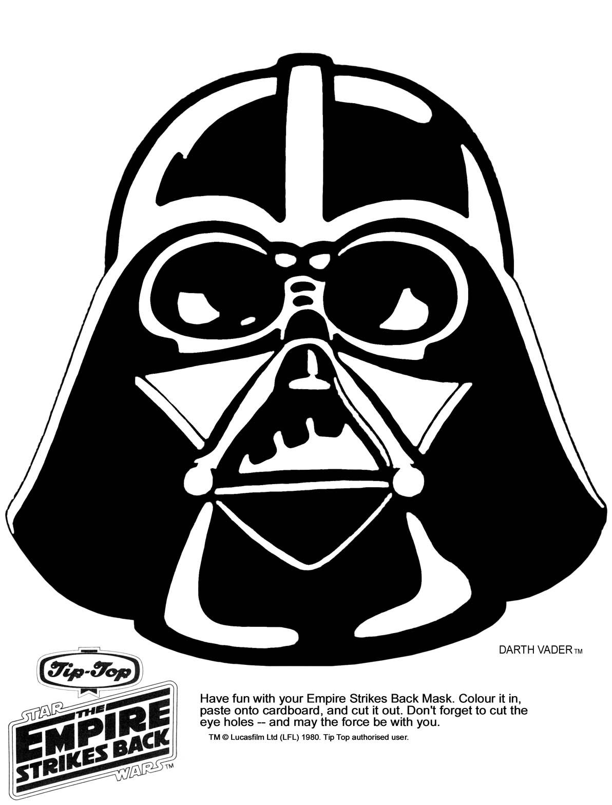Mask Printable Click The Picture For The Darth Vader Mask In High