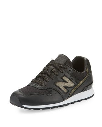 new balance embossed leather sneaker black/gold