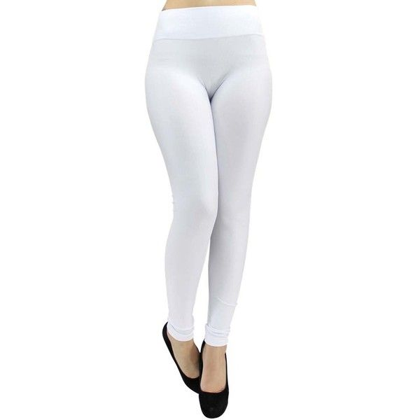 White Classic Stretchy Leggings ($18) ❤ liked on Polyvore featuring pants, leggings, footless tights, leg wear, white, white trousers, footless leggings, white pants, white stretch pants and white leggings